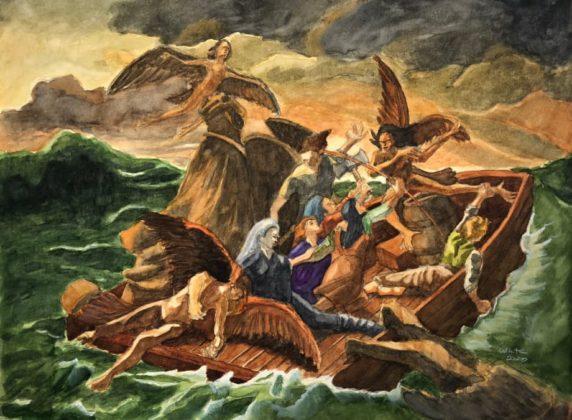 Raft of the Harpies Fantasy Illustration