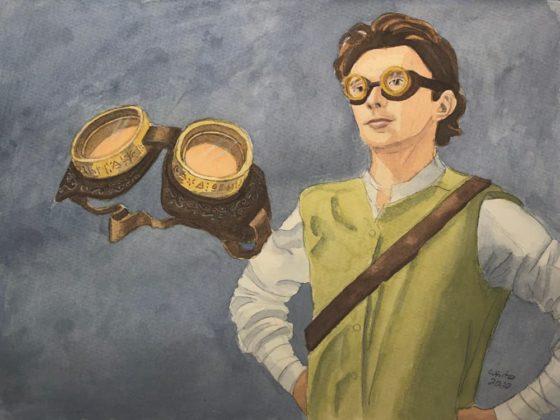 Halfling showing off dark vision goggles